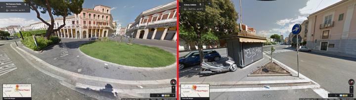 A sinistra Piazza Pitagora a destra l'angolo dove sarà posta la statua di Pitagora
